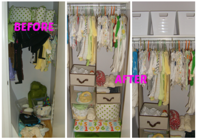 Nursery closet professionally organized for simple accessibility