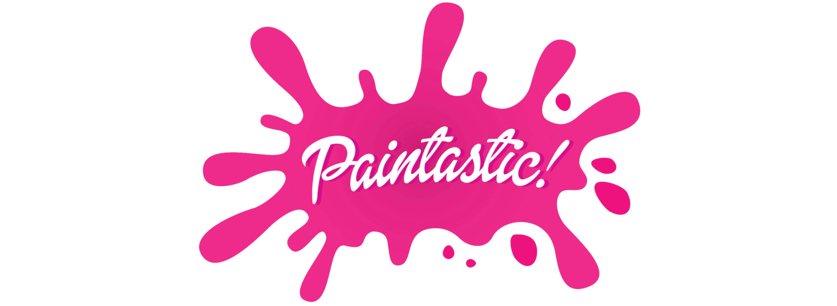 A pink splash of paint with Paintastic! on it